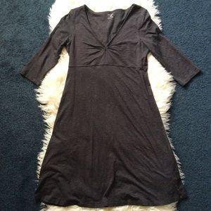 Horny toad gray v neck mini dress organic cotton S